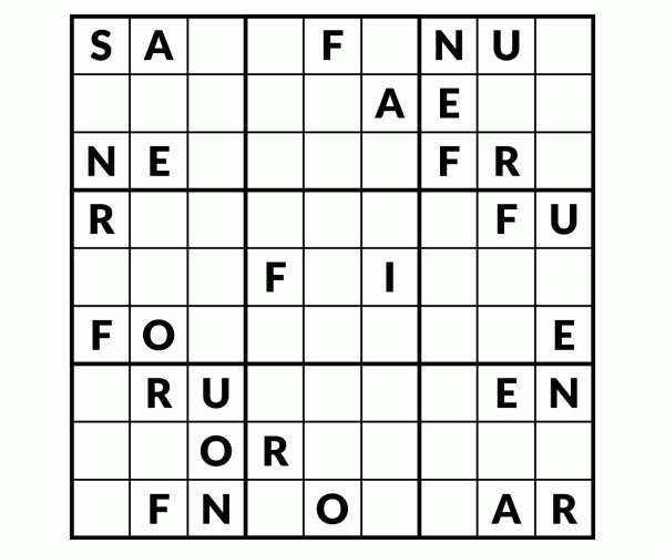 nefarious sudoku instead of 1 to 9 use the letters nefarious to complete the sudoku puzzle one row or column will spell the word