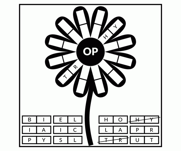 word flower #17-039 | puzzle on word games, inc